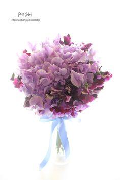 スイートピーのブーケ Sweet pea bouquet 紫のブーケ パープル