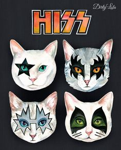 Hiss Cats - Cat Portrait - Illustration - Art Print - Cat Art - Rock Cats - Kiss Cats -Metal Cats HISS Cats art print from my original watercolor illustration. Paying homage to my favorite group of rockers, this artwork is for the fans of glam rock Cool Cats, I Love Cats, Crazy Cat Lady, Crazy Cats, Cat Art Print, Portrait Illustration, Watercolor Illustration, Watercolor Painting, Here Kitty Kitty