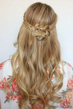 half-up-braided-flower-flat-iron-curls