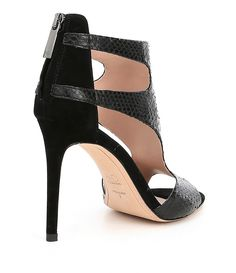 Armistead Snakeskin and Suede Back Zip Dress Sandals f80aIRnO1