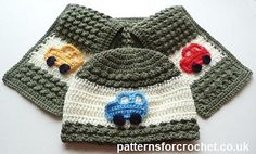 Child's hat scarf set with car motifs free crochet pattern ╭⊰✿Teresa Restegui… Crochet Kids Hats, Crochet For Boys, Crochet Beanie, Crochet Scarves, Crochet Crafts, Crochet Clothes, Crochet Projects, Free Crochet, Crochet Car