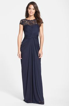 Adrianna Papell Lace Yoke Drape Gown navy long mother-of-the-bride dress Mob Dresses, Bridesmaid Dresses, Formal Dresses, Bride Dresses, Party Dresses, Occasion Dresses, Blue Bridesmaids, Mother Of Groom Dresses, Mothers Dresses