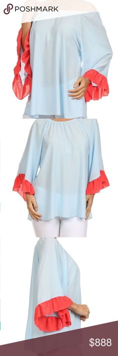 FLIRTY TOP BEAUTIFUL GIRLY FLIRTY TOP. LARGE BUST 22 ACROSS LAYING FLAT XL BUST ACROSS LAYING FLAT IS 23. LENGTH ABOUT 29.  New with tag. Slightly sheer. WEAR ON OR OFF SHOULDER. Tops Tunics