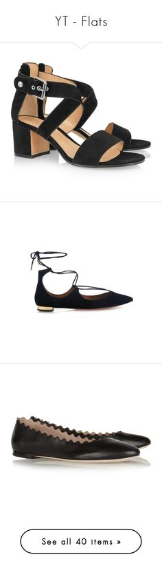 """YT - Flats"" by gracebeckett on Polyvore featuring shoes, sandals, mid-heel sandals, black sandals, block heel sandals, mid heel strappy sandals, black block heel sandals, flats, black e flat pumps"