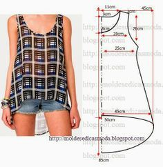 cute tank top pattern - free sewing patterns on portugese website Diy Clothing, Sewing Clothes, Clothing Patterns, Dress Patterns, Easy Sewing Patterns, Pattern Sewing, Pattern Drafting, Fashion Sewing, Diy Fashion
