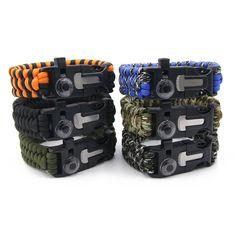 Paracord Di Sopravvivenza Wristband Del Braccialetto Termometro/Selce/Fischio di Campeggio Esterna Gear Kit di Strumenti di Corda