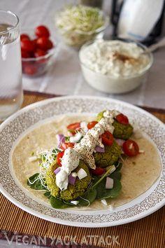 Greenslove: Baked Spinach Falafel with Homemade Tzatziki SauceVegan Yack Attack | Vegan Yack Attack http://veganyackattack.com/2012/03/28/greenslove-baked-spinach-falafel-with-homemade-tzatziki-sauce/