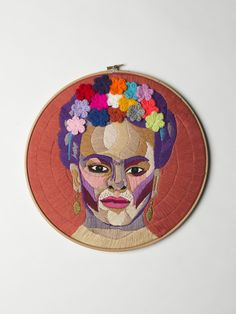 Luisa Zilio, a fiber artist from Bristol, creates embroidered portraits of significant cultural figures. She is interested in the intersection of creativity and mental health.