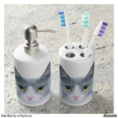 Shop Cat 611 soap dispenser and toothbrush holder created by artbylucie. Cat Bath, Animal Skulls, Bath Accessories, Toothbrush Holder, Soap Dispenser, Pink And Green, Original Paintings, Cats, Kittens