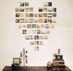 sweet & inexpensive way to dress up a wall - plus be able to display your pix. #photography #instagram #photos #polariod #photodisplay #diy