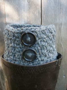 The look of a chunky sock without all the bulk...  Boot Toppers  FREE SHIPPING  Boots Cuffs  Grey by BlueBayCrochet, $19.00