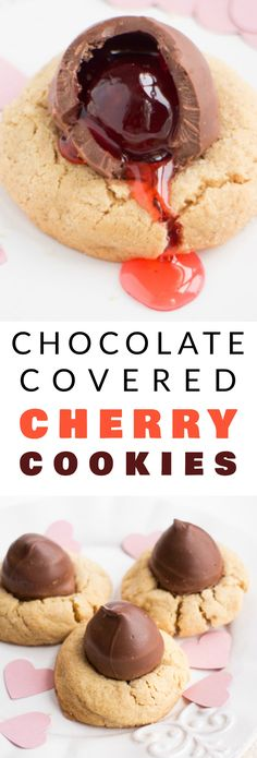 CHOCOLATE covered CHERRY cookies! Easy recipe for Peanut Butter Blossom Cookies with a chocolate covered cherry in the middle of each one!  The cookies are so soft and chewy, that kids and adults will consider them the best!  These are great cookies for V