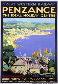 Penzance The Ideal Holiday Centre Cornwall. GWR Vintage Travel Poster by SC Rowles. 1927