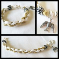 A more feminine approach to the typical Paracord Bracelets,    This one of a kind nature inspired parcord charm bracelet is weaved with Gold & White paracord.  Complimented with beautiful silver charms & a classic bird charm.