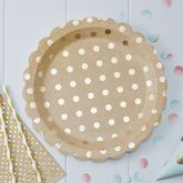 Brown Kraft And Gold Foiled Polka Dot Paper Plates