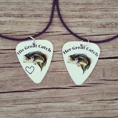 His Great Catch and Her Great Catch bass fish hook heart Guitar pick matching necklaces for couples love girl guy camo country valentines day by Featherpick