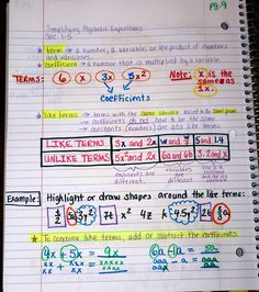 Interactive Notebook page about algebra (like terms) ...from: Middle School Math Madness! (blog)