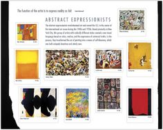 Abstract Expressionists • as part of the USPS collection • Features works by Hans Hofmann, Adolph Gottlieb, Mark Rothko, Arshile Gorky, Clyfford Still, Willem de Kooning, Barnett Newman, Jackson Pollock, Robert Motherwell, and Joan Mitchell • March 11, 2010