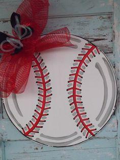Baseball Door Hanger, Summer Door Hanger, Spring Door Hanger, Baseball Wreath, S…