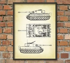 Tiger I Tank Schematic Diagram Wall Art Poster by QuantumPrints Army Decor, Diagram, Art Prints, Wall Art, Unique Jewelry, Handmade Gifts, Poster, Vintage, Etsy