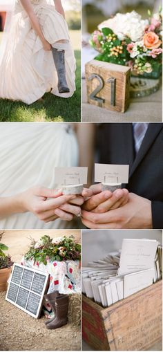 top right table numbers. love the metal on the block of wood. i love my hunter rain boots and would love to get a picture in them. LOVE the chalkboard idea- even if not for the wedding... use each section for a different to do list, etc. :))))