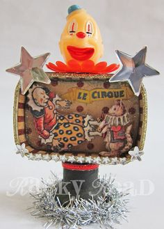 Tiny altered circus tin w/clowns #altered_tin #circus