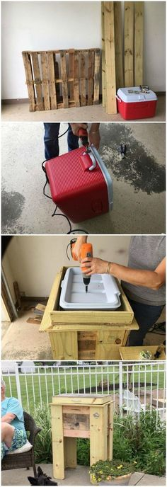 How To Build A Rustic DIY Cooler Rustic cooler stand using pallets – Serving drinks outside? Using one of those ugly plastic coolers? Here's a way to turn that ugly cooler into something cool-er 🙂 Pallet Cooler, Wood Cooler, Patio Cooler, Diy Cooler, Outdoor Cooler, Diy Furniture Couch, Diy Outdoor Furniture, Furniture Showroom, Wooden Furniture