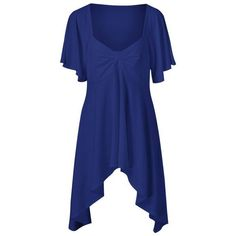 Butterfly Sleeve Asymmetrical Plus Size Tee ($13) ❤ liked on Polyvore featuring tops, t-shirts, plus size tees, plus size women's t shirts, plus size t shirts, plus size tops and blue tee