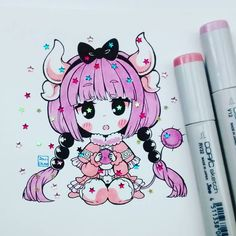 Kanna brillosa ✨✨✨✨ #kannakamui #kobayashisan #kobayashisanchinomaiddragon #misskobayashisdragonmaid #stars #shine #loli #copicmarker #copicsketch #chibiart #chibi #kawaii #cute #adorable
