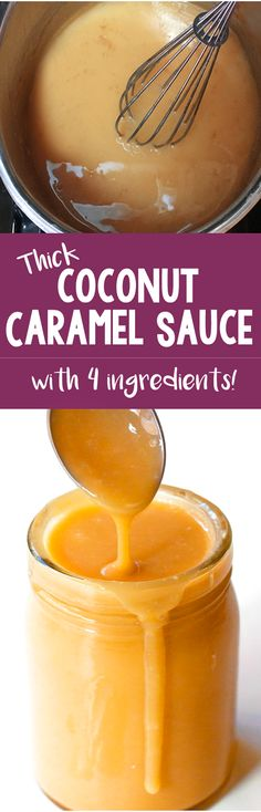 There's NO heavy cream or corn syrup needed for this easy coconut caramel sauce . - There's NO heavy cream or corn syrup needed for this easy coconut caramel sauce recipe! Desserts Végétaliens, Dessert Sauces, Paleo Dessert, Dessert Recipes, Fruit Recipes, Plated Desserts, Recipies, Coconut Caramel Recipe, Caramel Recipes