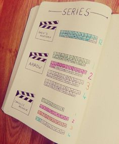 "BULLET JOURNAL ~ Tracker series. At first I didn't see the point. Then I remembered that people keep asking me ""Did we finish Season A of Show X?"" and this would make it easier to answer those questions. Could be used for Book series' as well."