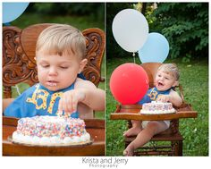 After dabbling for a minute, he soon realized that cake was amazing!  #KristaandJerryPhotography #PortraitPhotographer #ChildPortrait #Colors #Colorful #Balloons #Joy #Cake #FirstBirthday