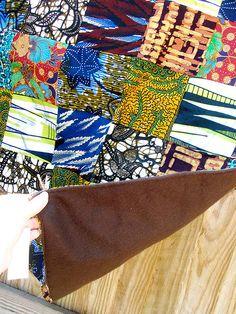 African wax prints patchwork quilt.