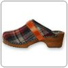 Warm up your toes in these clogs. A deep dark stained alderwood footbase with red plaid wooly upper, offering comfort and style!