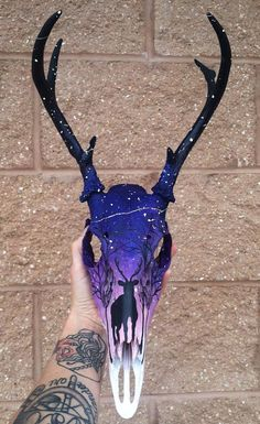Custom Painted Buck Skull for Comission by Okaysion on Etsy