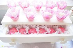 lots of pink in this doll house themed party