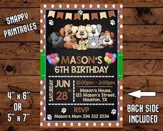 Puppy Birthday Invitation Puppy  Birthday Invite Puppy
