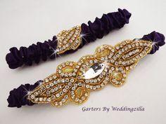 Purple Gold Wedding Garter Set  Gold Crystal by Weddingzilla