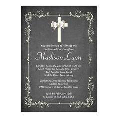 Modern Chalkboard Baptism Christening Cross 5x7 Paper Invitation Card
