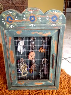 Hand made and painted wooden key cupboard