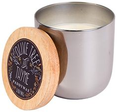 Paddywax Foundry Silver Soy Wax Candle Tin, 12-Ounce, Olive Tree and Thyme