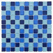Potential for Shower Floor - Polished Blue Mix Glass Mosaic