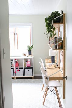 Consider adding a wall desk unit to keep things slim in a small room. Come check out this adorable kid's room before and after! This bunk bed room turns into the perfect spot for kiddos to play, sleep, and do homework! Bedroom Desk, Kids Bedroom, Girls Room Desk, Room Desks, Girl Bedrooms, Bed Room, Master Bedroom, Svalnäs Ikea, Desk Wall Unit