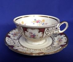 Seltmann Erbendorf German Teacup and Saucer Flowers Gold Trim VTG Floral Tea Cup