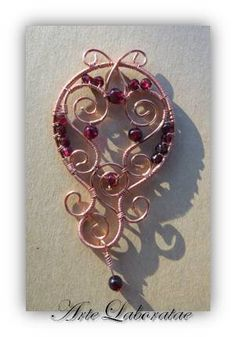 Copper Round Pendant with Garnets - by Katalin KB Walcott