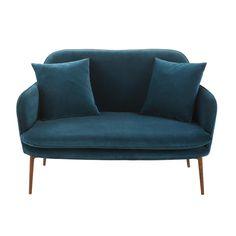 Petrol Blue 2-Seater Velvet Sofa Bench