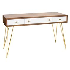 Worlds Away Brent Console Table with Gold Hairpin Legs