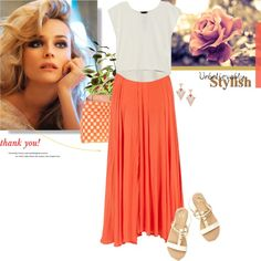 """""""Maxi skirt + cropped top = summery style!"""" by stream ❤ liked on Polyvore"""
