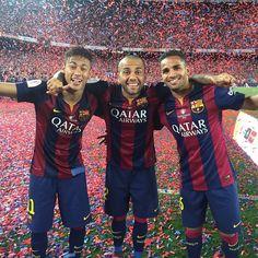 Neymar Jr, Dani Alves and Douglas. Brazilians on Barca, 2014-2015, following Copa del Rey celebration. 30 May 2015