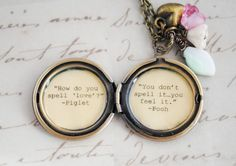Women's Locket - Friendship Jewelry - Winnie the Pooh Quote - Piglet and Pooh - How do you spell love, you don't spell it you feel it. $32.00, via Etsy.